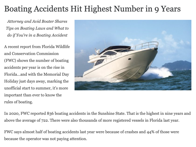 Boating Accidents Hit Highest Number in 9 Years